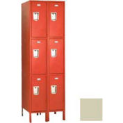 "Penco 6C425-2W-KD-073 Guardian Plus Locker, Triple Tier 2 Wide, 15""W x 12""D x 24""H, Champagne"
