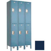 "Penco 6E027-3W-KD-822 Guardian Defiant II Locker Double Tier 3 Wide, 18""W x 12""D x 36""H, Regal Blue"