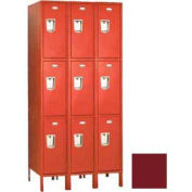 "Penco 6E499-3W-KD-736 Guardian Defiant II Locker Triple Tier 3 Wide, 12""W x 21""D x 24""H, Burgundy"