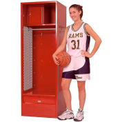 Penco 6KFD53-767 Stadium® Locker With Shelf Security Box & Footlocker 33x21x72 Red Unassembled