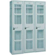 "Penco 6WA134-3W-028 Angle Iron Locker, Single Point Latch, 1 Tier, 3 Wide, 18""W x 21""D x 72H"", Gray"