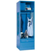 Penco 6WFD33-052 Stadium® Locker With Shelf Security Box & Footlocker 24x24x76 Blue All Welded