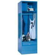 Penco 6WFD43-052 Stadium® Locker With Shelf Security Box & Footlocker 33x18x76 Blue All Welded