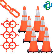 Mr. Chain Traffic Cone & Chain Kit with Reflective Collars, Traffic Orange, 93280-6
