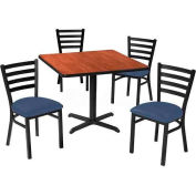 "36"" Square Table & Ladder Back Chair Set, Figured Mahogany Laminate Table/Slate Blue Vinyl Chair"