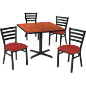 "36"" Square Table & Ladder Back Chair Set, Nepal Teak Laminate Table/Red Vinyl Chair"
