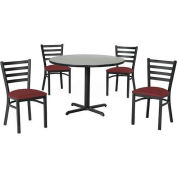 "36"" Round Table & Ladder Back Chair Set, Nepal Teak Laminate Table/Burgundy Vinyl Chair"