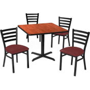 "Premier Hospitality 42"" Square Table & Ladder Back Chair Set, Mahogany/Burgundy Vinyl Chair"