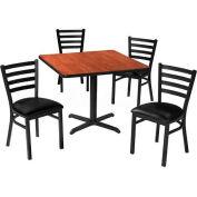 "Premier Hospitality 42"" Square Table & Ladder Back Chair Set, Gray Nebula/Black Vinyl Chair"