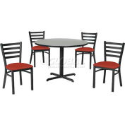 "42"" Round Table & Ladder Back Chair Set, Figured Mahogany Laminate Table/Red Vinyl Chair"