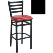 "4 Slat-Back Bar Stool 17-1/2""W X 16""D X 43""H - Knockout Black - Pkg Qty 2"