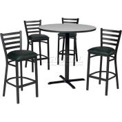 "36"" Square Table & Ladder Back Bar Ht Set - Figured Mahogany Laminate Table/Hunter Green Vinyl Chair"
