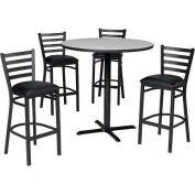"36"" Round Table & Ladder Back Bar Ht Set - Figured Mahogany Laminate Table/Burgundy Vinyl Chair"