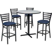 "36"" Round Table & Ladder Back Bar Ht Set - Figured Mahogany Laminate Table/Slate Blue Vinyl Chair"