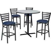 "Premier Hospitality 36"" Round Table & Barstools w/ Ladder Back - Figured Mahogany /Slate Blue Vinyl"