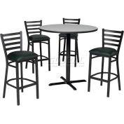 "36"" Round Table & Ladder Back Bar Ht Set - Figured Mahogany Laminate Table/Hunter Green Vinyl Chair"