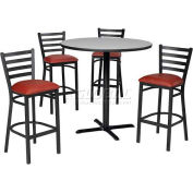 """42"""" Square Table & Ladder Back Bar Ht Set - Figured Mahogany Laminate Table/Red Vinyl Chair"""