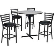 "42"" Round Table & Ladder Back Bar Ht Set - Figured Mahogany Laminate Table/Burgundy Vinyl Chair"
