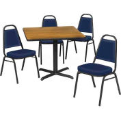 """36"""" Square Table & Economy Stack Chair Set, Gray Nebula Laminate Table/Blue Vinyl Chair"""