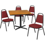 "36"" Square Table & Economy Stack Chair Set, Nepal Teak Laminate Table/Burgundy Vinyl Chair"