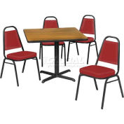 "42"" Square Table & Economy Stack Chair Set, Figured Mahogany Laminate Table/Red Vinyl Chair"