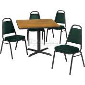"42"" Square Table & Economy Stack Chair Set -Graphite Nebula Laminate Table/Hunter Green Vinyl Chair"