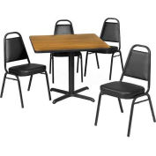 "42"" Square Table & Economy Stack Chair Set, Nepal Teak Laminate Table/Black Vinyl Chair"