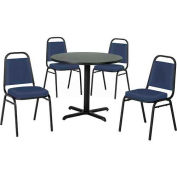 "42"" Round Table & Economy Stack Chair Set, Figured Mahogany Laminate Table/Slate Blue Vinyl Chair"