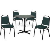 "42"" Round Table & Economy Stack Chair Set -Figured Mahogany Laminate Table/Hunter Green Vinyl Chair"