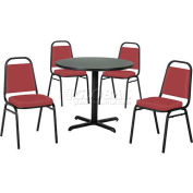 "42"" Round Table & Economy Stack Chair Set, Nepal Teak Laminate Table/Red Vinyl Chair"