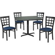 "36"" Square Table & Window Pane Back Chair Set, Graphite Nebula Laminate Table/Blue Vinyl Chair"