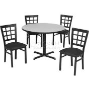"36"" Round Table & Window Pane Back Chair Set, Figured Mahogany Laminate Table/Black Vinyl Chair"