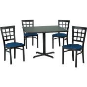 "42"" Square Table & Window Pane Back Chair Set, Graphite Nebula Laminate Table/Blue Vinyl Chair"