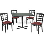 "42"" Square Table & Window Pane Back Chair Set, Nepal Teak Laminate Table/Burgundy Vinyl Chair"
