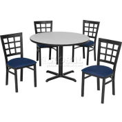 "42"" Round Table & Window Pane Back Chair Set, Graphite Nebula Laminate Table/Blue Vinyl Chair"