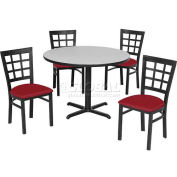"42"" Round Table & Window Pane Back Chair Set, Wild Cherry Laminate Table/Red Vinyl Chair"