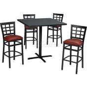 """36"""" Square Table & Window Pane Bar Ht Chair Set -Figured Mahogany Laminate Table/Red Vinyl Chair"""