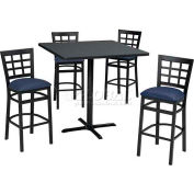 "36"" Square Table & Window Pane Back Bar Ht Set - Figured Mahogany Laminate Table/Blue Vinyl Chair"