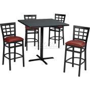 "36"" Round Table & Window Pane Back Bar Ht Set - Figured Mahogany Laminate Table/Red Vinyl Chair"
