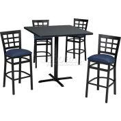 "36"" Round Table & Window Pane Back Bar Ht Set - Figured Mahogany Laminate Table/Blue Vinyl Chair"