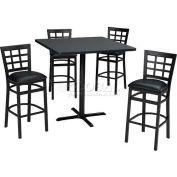 "36"" Round Table & Window Pane Back Bar Ht Set - Maple Fusion Laminate Table/Burgundy Vinyl Chair"