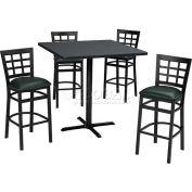 "42"" Square Table & Window Pane Back Bar Ht Set - Figured Mahogany Laminate Table/Green Vinyl Chair"