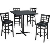 "42"" Round Table & Window Pane Back Bar Ht Set - Graphite Nebula Laminate Table/Burgundy Vinyl Chair"