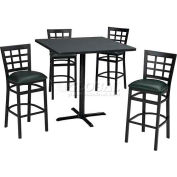 "42"" Round Table & Window Pane Back Bar Ht Set - Maple Fusion Laminate Table/Hunter Green Vinyl Chair"