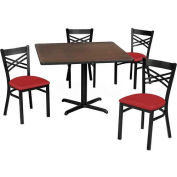 "Premier Hospitality 36"" Square Table & Criss-Cross Back Chair Set, Maple Fusion /Red Vinyl Chair"