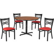 "42"" Round Table & Criss-Cross Back Chair Set, Figured Mahogany Laminate Table/Red Vinyl Chair"