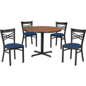 "Premier Hospitality 42"" Round Table & Chair Set w/ Criss-Cross Back, Gray Nebula/Blue Vinyl"