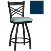 "Criss-Cross Back Swivel Bar Stool 17-1/2""W X 17""D X 45""H Slate Blue Package Count 2 by More Bar Stools"