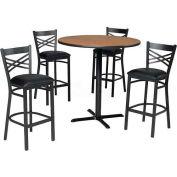"42"" Square Table & Criss-Cross Back Bar Ht Set - Figured Mahogany Laminate Table/Black Vinyl Chair"
