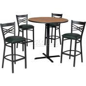 "42"" Square Table & Criss-Cross Back bar Ht Set - Nepal Teak Laminate Table/Hunter Green Vinyl Chair"